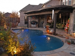 Free Form Pool with LED Lights and Cedar Arbor in Frisco
