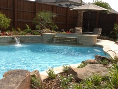 Pool and Spa with Raised Bond Beam and Scupper