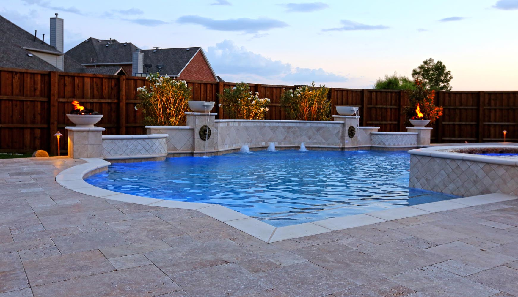 Grecian Pool, With Bubblers, LED Lighting, Travertine Water Bowls And  Travertine Walls And