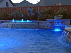 Grecian Pool, Fountain, Bubblers, Sheer Descents Ocean Blue Pebble Sheen with Stone Walls and Columns in Frisco