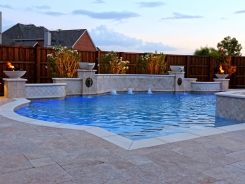 Grecian Pool, with Bubblers, LED Lighting, Travertine Water Bowls and Travertine Walls and Columns in Frisco (1)