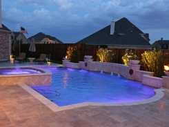 Grecian Pool, with Bubblers, LED Lighting, Travertine Water Bowls and Travertine Walls and Columns in Frisco (2)
