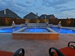 Grecian Pool, with Bubblers, LED Lighting, Travertine Water Bowls and Travertine Walls and Columns in Frisco (3)