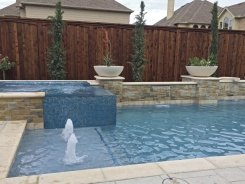 Iridescent Glass Tile Spa, Aqua Blue Pebble Sheen, Water Bowls and Bubblers in Frisco (1)