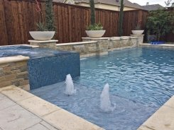 Iridescent Glass Tile Spa, Aqua Blue Pebble Sheen, Water Bowls and Bubblers in Frisco