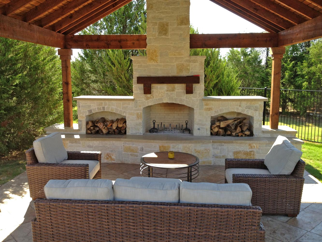 Granbury And Lueders Stone Fireplace With Patio Cover Stamped Concrete In Lucas 1