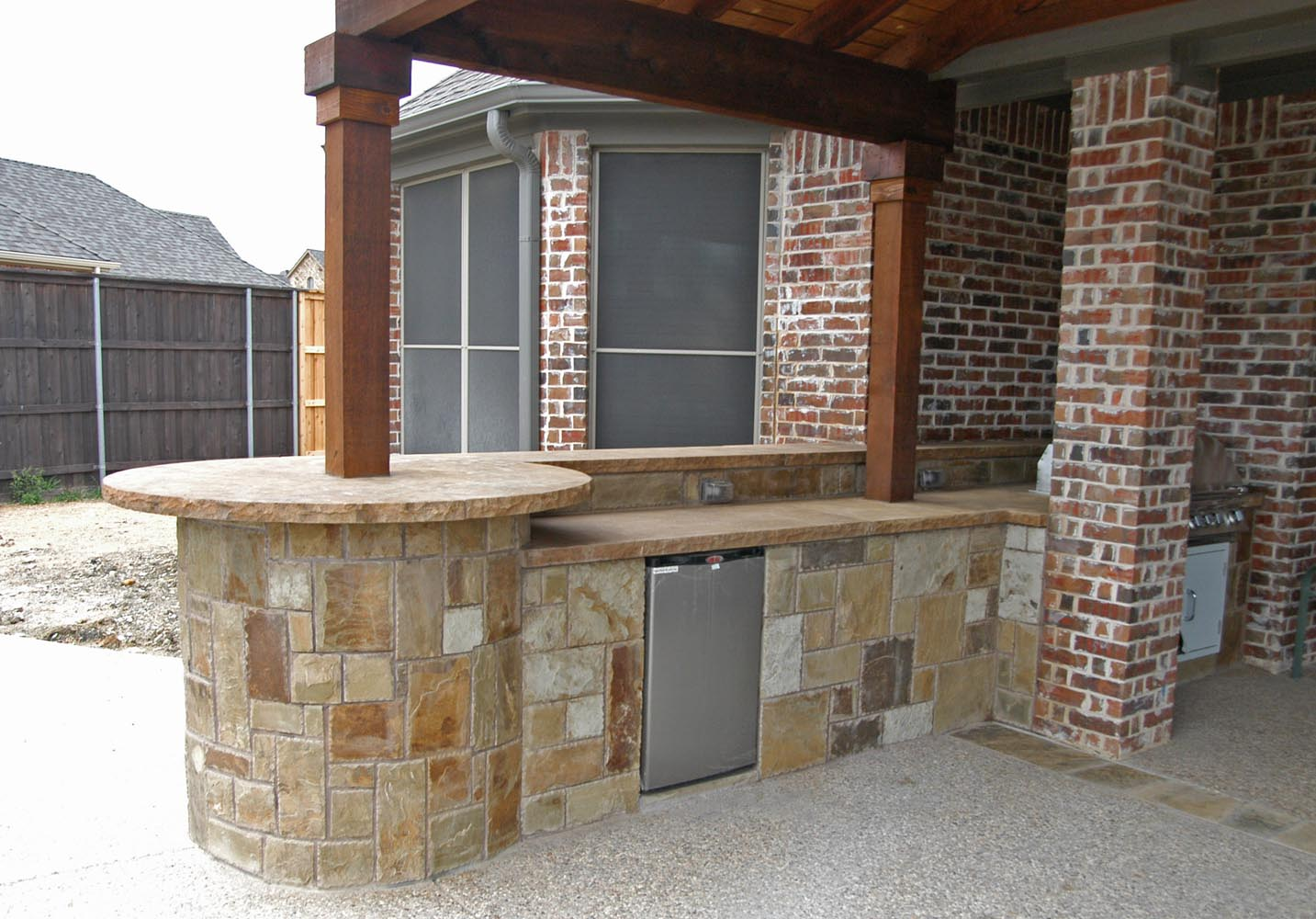Attractive Patio Cover, BBQ Island With Chocolate Lueders In Prosper