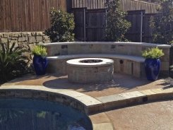 Fire Pit with Seating Bench in Frisco