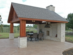 Patio Cover with Lueders Stone Fireplace