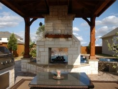See Through Stone Fireplace in Allen