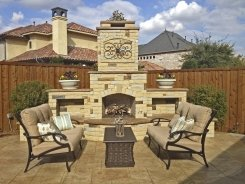 Stone Fireplace with Chocolate Lueders and Stamped Concrete in Frisco (1)