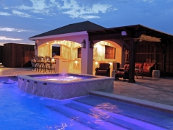 Stucco Pavilion, Noche Travertine with BBQ Island, Lighting and Cedar Beams with Travertine Spa in Frisco (1)