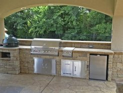 Stucco Pavilion with BBQ Island, Lighting in Frisco