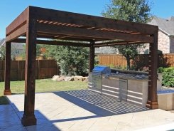 Travertine BBQ Island with Cedar Arbor in Allen (1)