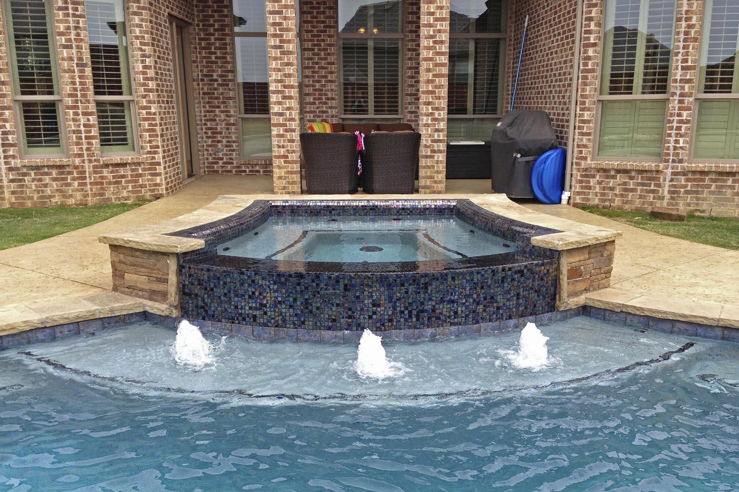 Water Pool Tiles : Custom inground spa design gallery photos dallas frisco