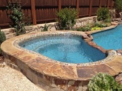 Glass Tile on Spa with Waterfall Spillway in Frisco (1)