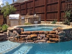 Glass Tile on Spa with Waterfall Spillway in Frisco