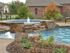 Glass Tile on Spa with Waterfall Spillway in Lucas