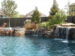 Glass Tile on Spa with Waterfall Spillway in Prosper (1)