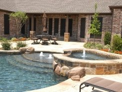 Glass Tile on Spa with Waterfall Spillway in Prosper