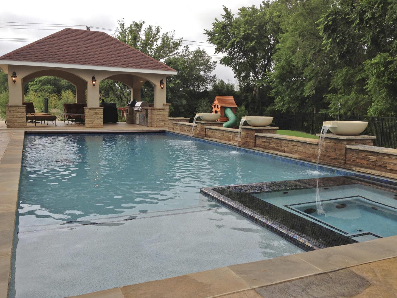 Dallas plano pool fountains custom water features gallery for Lazy l swimming pool covers