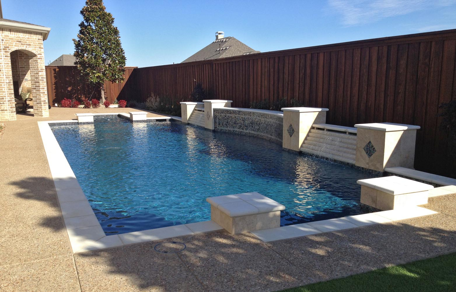 Dallas plano pool fountains custom water features gallery - Fibreglass swimming pool bond beam ...