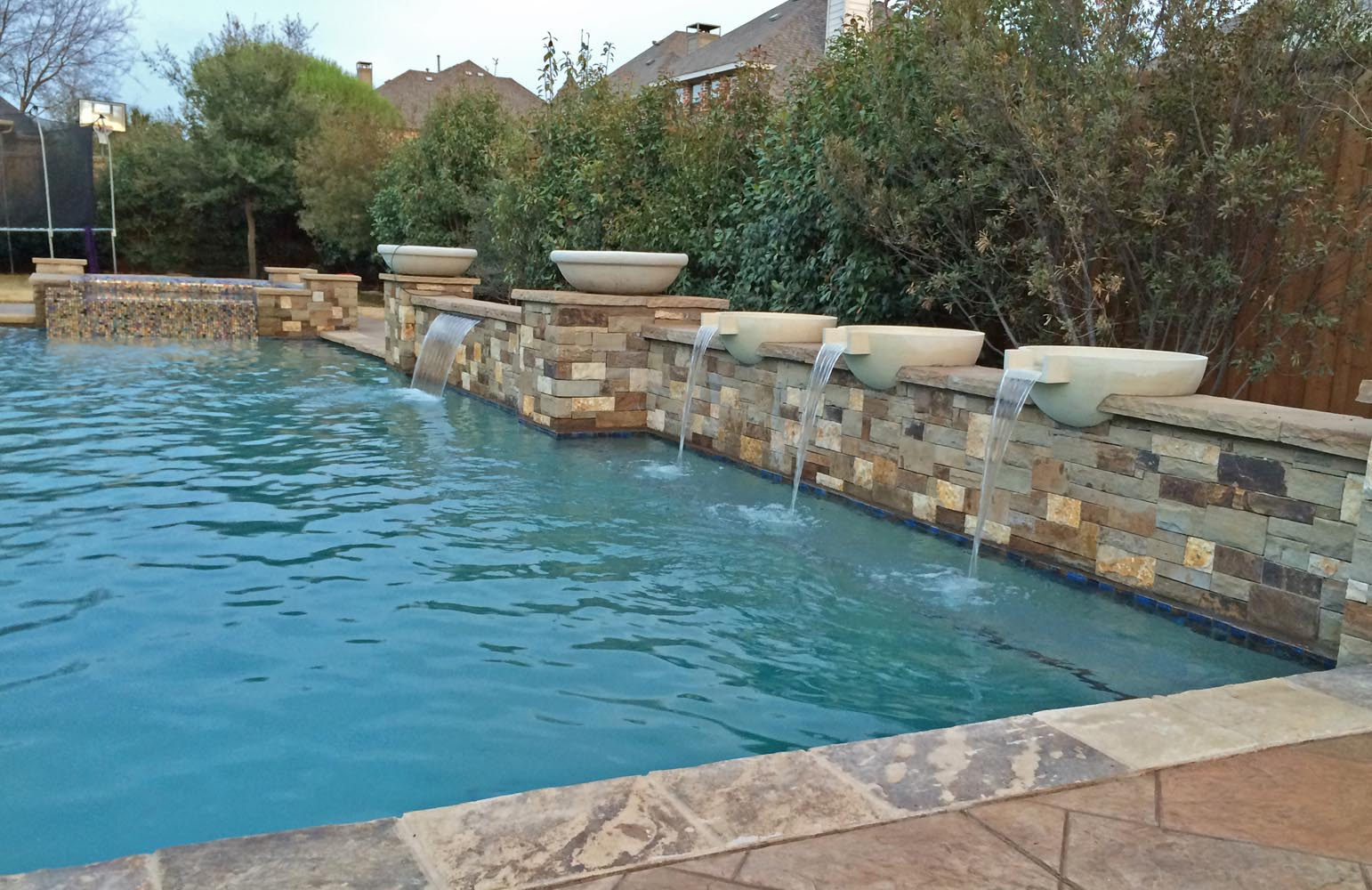 Dallas plano pool fountains custom water features gallery for Raised pool designs