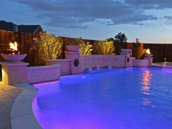 Grecian Pool, with Bubblers, LED Lighting, Travertine Water Bowls and Travertine Walls and Columns in Frisco